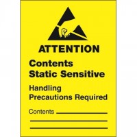 "Static Warning Labels -"" Contents Static Sensitive"", 1 3/4 x 2 1/2"""