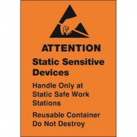 "Orange Static Warning Labels -"" Static Sensitive Devices"", 1 3/4 x 2 1/2"""