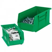 Stackable Plastic Bins, Green, 9 1/4 x 6 x 5""