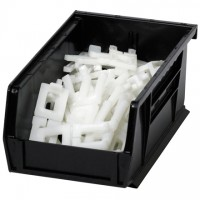 Stackable Plastic Bins, Black, 7 3/8 x 4 1/8 x 3""