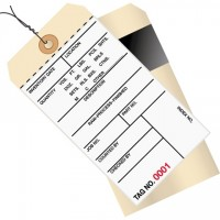 Pre-Wired Inventory Tags - 2-Part Carbon Style with Adhesive Strip (1000-1499), 6 1/4 x 3 1/8""