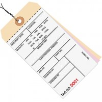 Pre-Wired Inventory Tags - 3-Part Carbonless (0000-0499), 6 1/4 x 3 1/8""