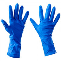 Industrial Latex Gloves w/Extended Cuff - Blue - 5 Mil - Small