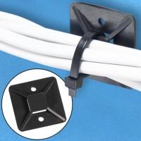 "Cable Tie Mounts, 1 1/2 x 1 1/2"", Black"