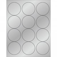 "Silver Foil Circle Laser Labels, 2 1/2"""