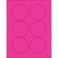 Fluorescent Pink Circle Laser Labels, 3""