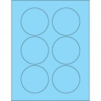 Fluorescent Pastel Blue Circle Laser Labels, 3""