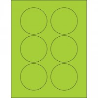 Fluorescent Green Circle Laser Labels, 3""