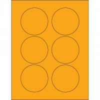 Fluorescent Orange Circle Laser Labels, 3""