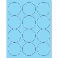 Fluorescent Pastel Blue Circle Laser Labels, 2 1/2""