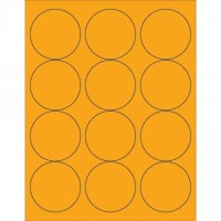 Fluorescent Orange Circle Laser Labels, 2 1/2""