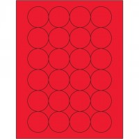 Fluorescent Red Circle Laser Labels, 1 2/3""