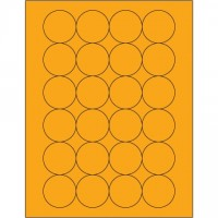 Fluorescent Orange Circle Laser Labels, 1 2/3""
