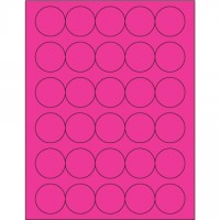 Fluorescent Pink Circle Laser Labels, 1 1/2""