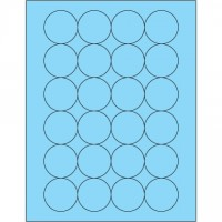 Fluorescent Pastel Blue Circle Laser Labels, 1 2/3""