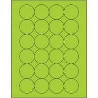 Fluorescent Green Circle Laser Labels, 1 2/3""