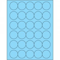 Fluorescent Pastel Blue Circle Laser Labels, 1 1/2""