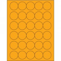 Fluorescent Orange Circle Laser Labels, 1 1/2""