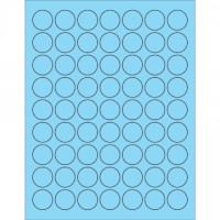 Fluorescent Pastel Blue Circle Laser Labels, 1""