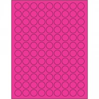 Fluorescent Pink Circle Laser Labels, 3/4""