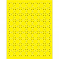 Fluorescent Yellow Circle Laser Labels, 1""