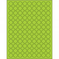 Fluorescent Green Circle Laser Labels, 3/4""