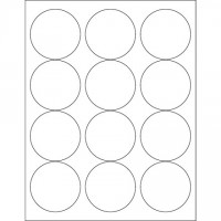 """Glossy White Laser Labels, 2 1/2"""""""