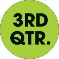 "Green ""3RD QTR."" Circle Inventory Labels, 2"""