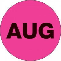 "Fluorescent Pink ""AUG"" Circle Inventory Labels, 1"""