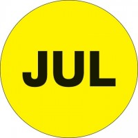 "Fluorescent Yellow ""JUL"" Circle Inventory Labels, 1"""