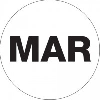 "White ""MAR"" Circle Inventory Labels, 2"""