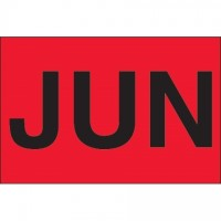 "Fluorescent Red ""JUN"" Inventory Labels, 2"" x 3"""