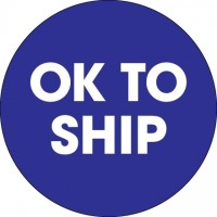 """Blue """"Ok To Ship"""" Circle Inventory Labels, 2"""""""