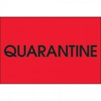 "Fluorescent Red ""Quarantine"" Inventory Labels, 2 x 3"""