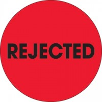 """Fluorescent Red """"Rejected"""" Circle Inventory Labels, 2"""""""