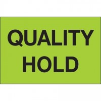 """Fluorescent Green """"Quality Hold"""" Inventory Labels, 2 x 3"""""""