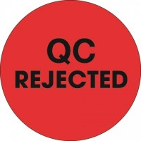 """Fluorescent Red """"QC Rejected"""" Circle Inventory Labels, 2"""""""