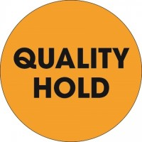 """Fluorescent Orange """"Quality Hold"""" Circle Inventory Labels, 2"""""""