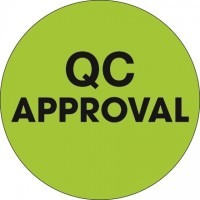"""Fluorescent Green """"QC Approval"""" Circle Inventory Labels, 2"""""""