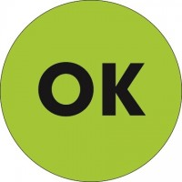 """Fluorescent Green """"OK"""" Circle Inventory Labels, 2"""""""