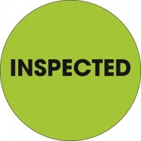 """Fluorescent Green """"Inspected"""" Circle Inventory Labels, 2"""""""