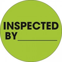 """Fluorescent Green """"Inspected By"""" Circle Inventory Labels, 2"""""""