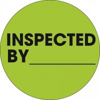 """Fluorescent Green """"Inspected By"""" Circle Inventory Labels, 1"""""""