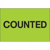 """Fluorescent Green """"Counted"""" Inventory Labels, 2 x 3"""""""