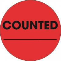 """Fluorescent Red """"Counted ___"""" Circle Inventory Labels, 2"""""""
