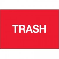 """Fluorescent Red """"Trash"""" Inventory Labels, 2 x 3"""""""