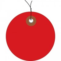 Pre-Wired Red Plastic Circle Tags - 3""