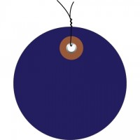 Pre-Wired Blue Plastic Circle Tags - 2""