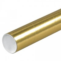 Mailing Tubes with Caps, Round, Gold, 3 x 24""