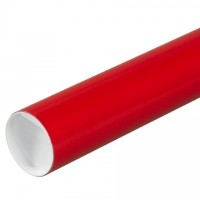 Mailing Tubes with Caps, Round, Red, 3 x 24""